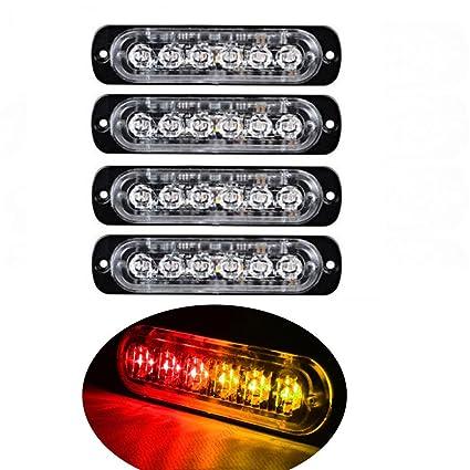6 LED coche rojo/ámbar color LED luz estroboscópica de emergencia ...