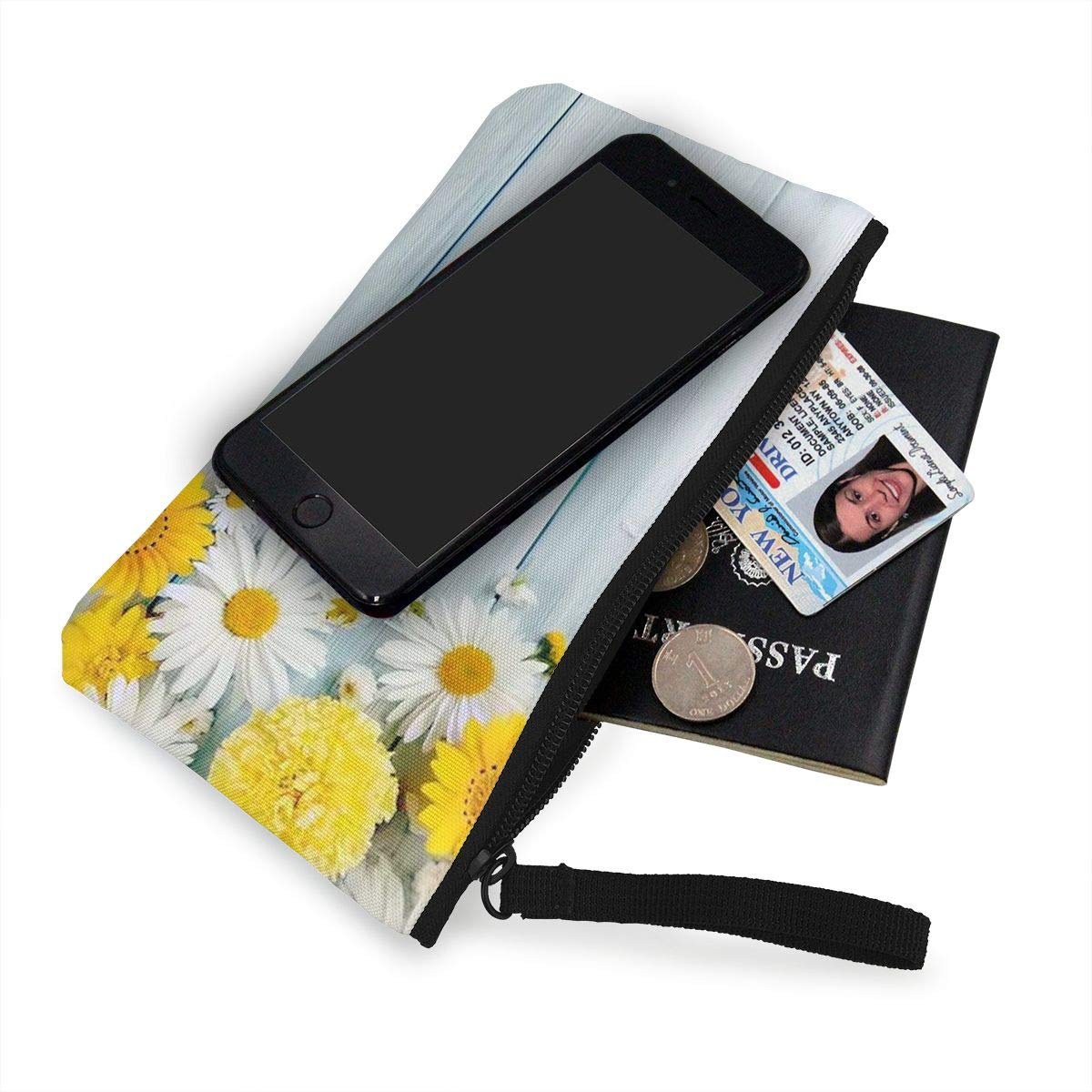 Maple Memories Chrysanthemums Wooden Court Portable Canvas Coin Purse Change Purse Pouch Mini Wallet Gifts For Women Girls