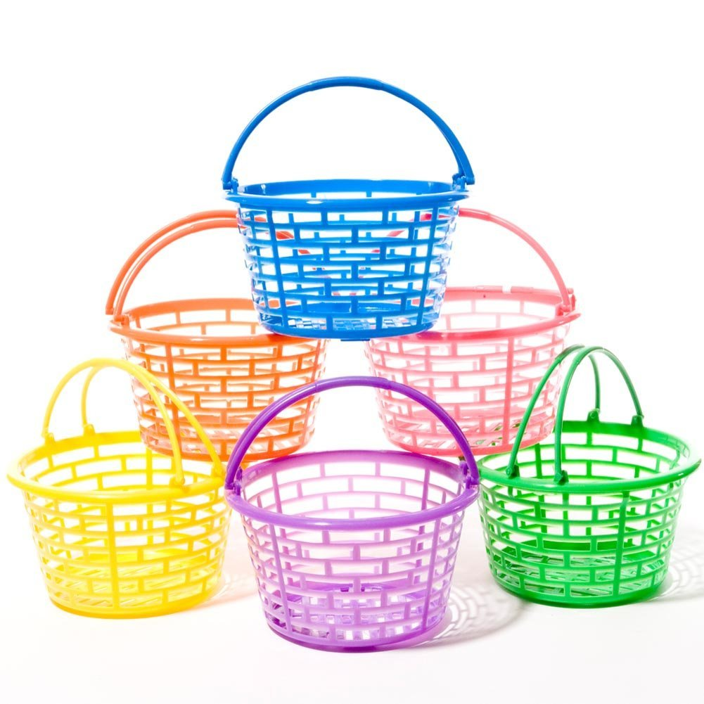 Amazon easter bright round plastic baskets negle Image collections