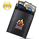 Fireproof Document Bag, Sungwoo NON-ITCHY Silicone Coated Fireproof Waterproof Pouch with Velcro and Zipper Closure for Document Money Passport and Valuables (15''x11'', Black)
