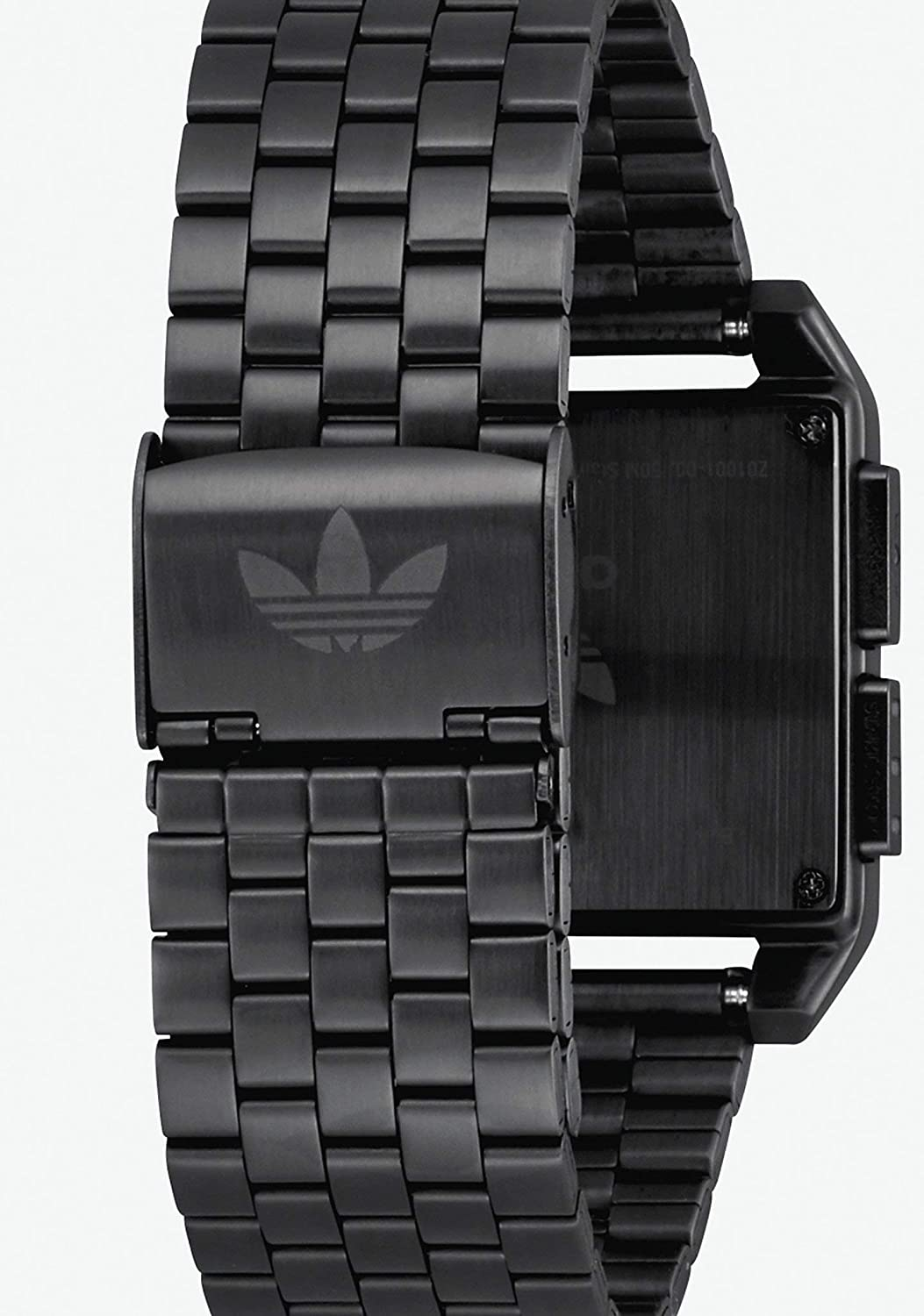 Adidas Watches Archive_M1. Men's 70's Style Stainless Steel Digital Watch with 5 Link Bracelet (36 mm). All Black