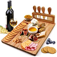 Bamboo Cheese Board Set, Charcuterie Platter and Serving Meat Board Including 4 Stainless Steel Knife and Serving…