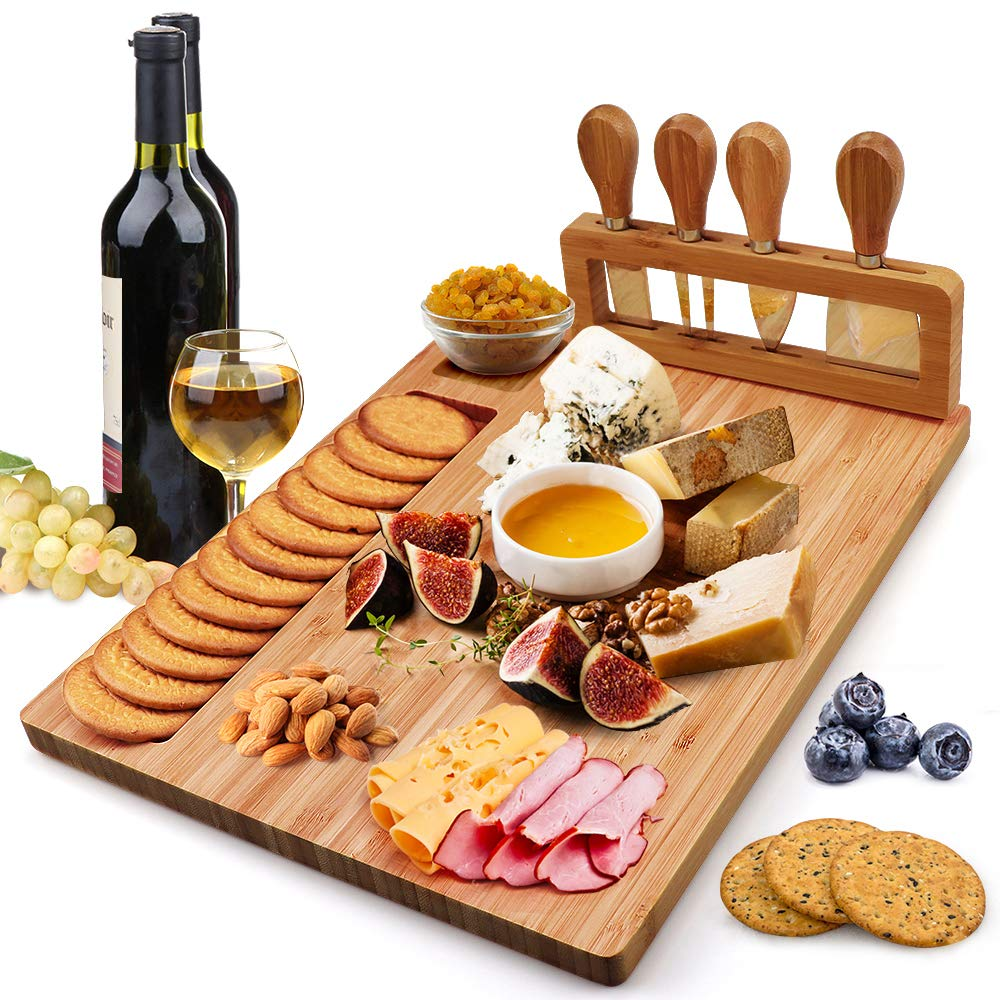 Bamboo Cheese Board Set, Charcuterie Platter and Serving Meat Board Including 4 Stainless Steel Knife and Serving Utensils, Unique Gifts for Christmas Wedding Birthday Anniversary(14''x11'')