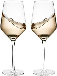 Bella Vino Italian Red Wine Glasses 15.5 Ounce 9.1'', Laser Cut Rim For Wine Tasting, Lead-Free Cups, Elegant Drinking Glassware, Dishwasher Safe, White or Red Wine Glass Set of 2