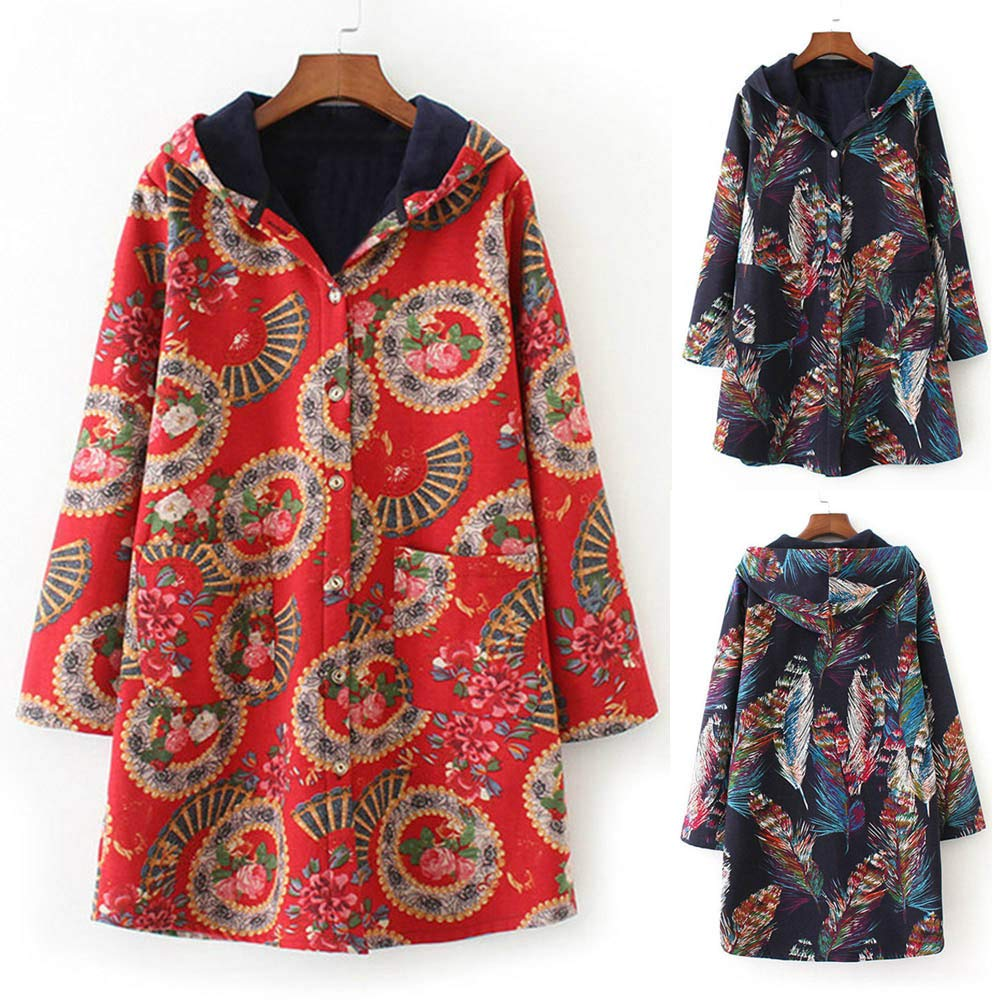 Womens Oversize Coats Duseedik Winter Warm Outwear Floral Print Down Jackets Hooded Pockets Vintage Pullover Cardigan at Amazon Womens Clothing store: