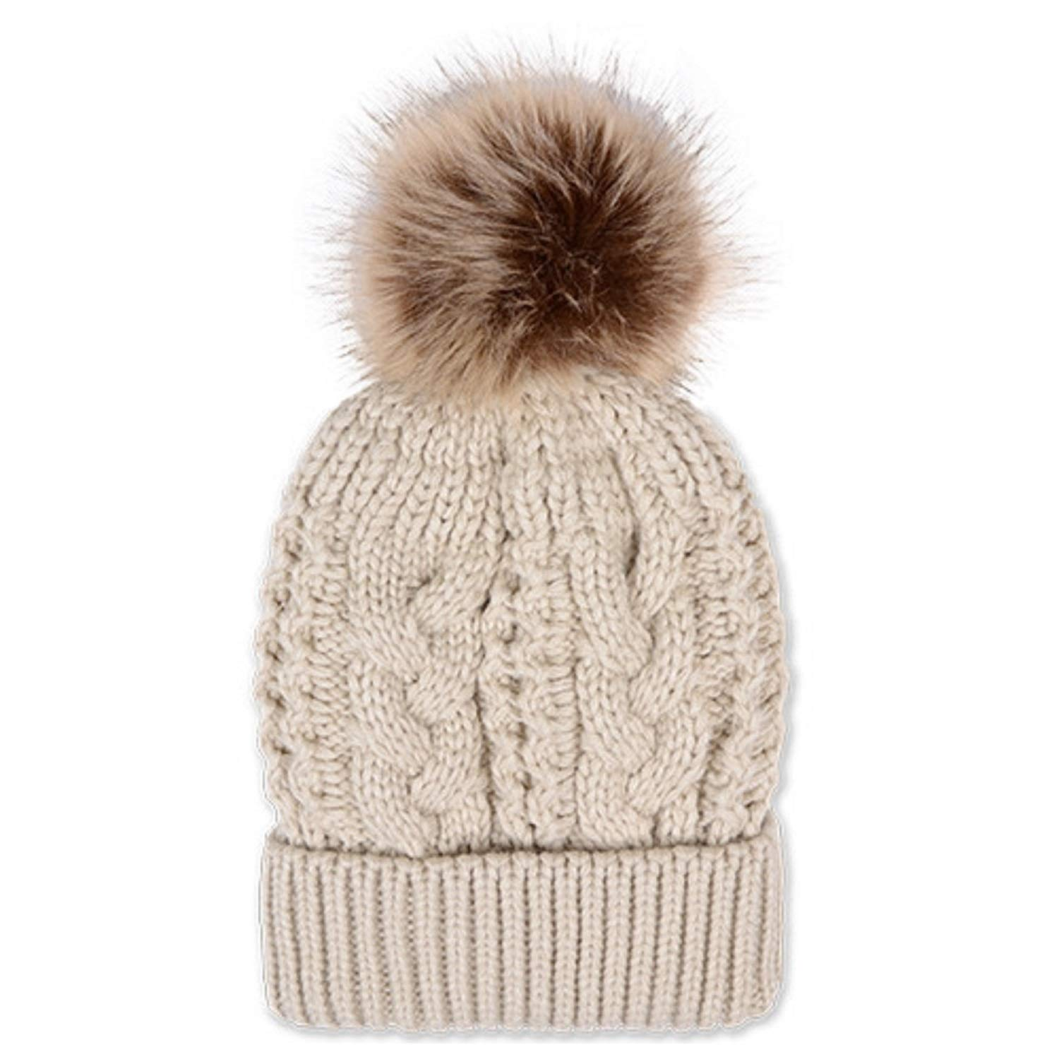 513d3bdfda0adc Amazon.com: Treenewbid Pompoms Beanie Hat Women Thick Cable Knit Beanie  Soft Faux Fur Pom Cap (Beige): Clothing