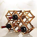 Hokipo Foldable Wooden Wine Rack Organizer Display Shelf, 45 X 31 X 12Cm, Capacity 10 Bottle (Carbonized Color,No Oil Paint)
