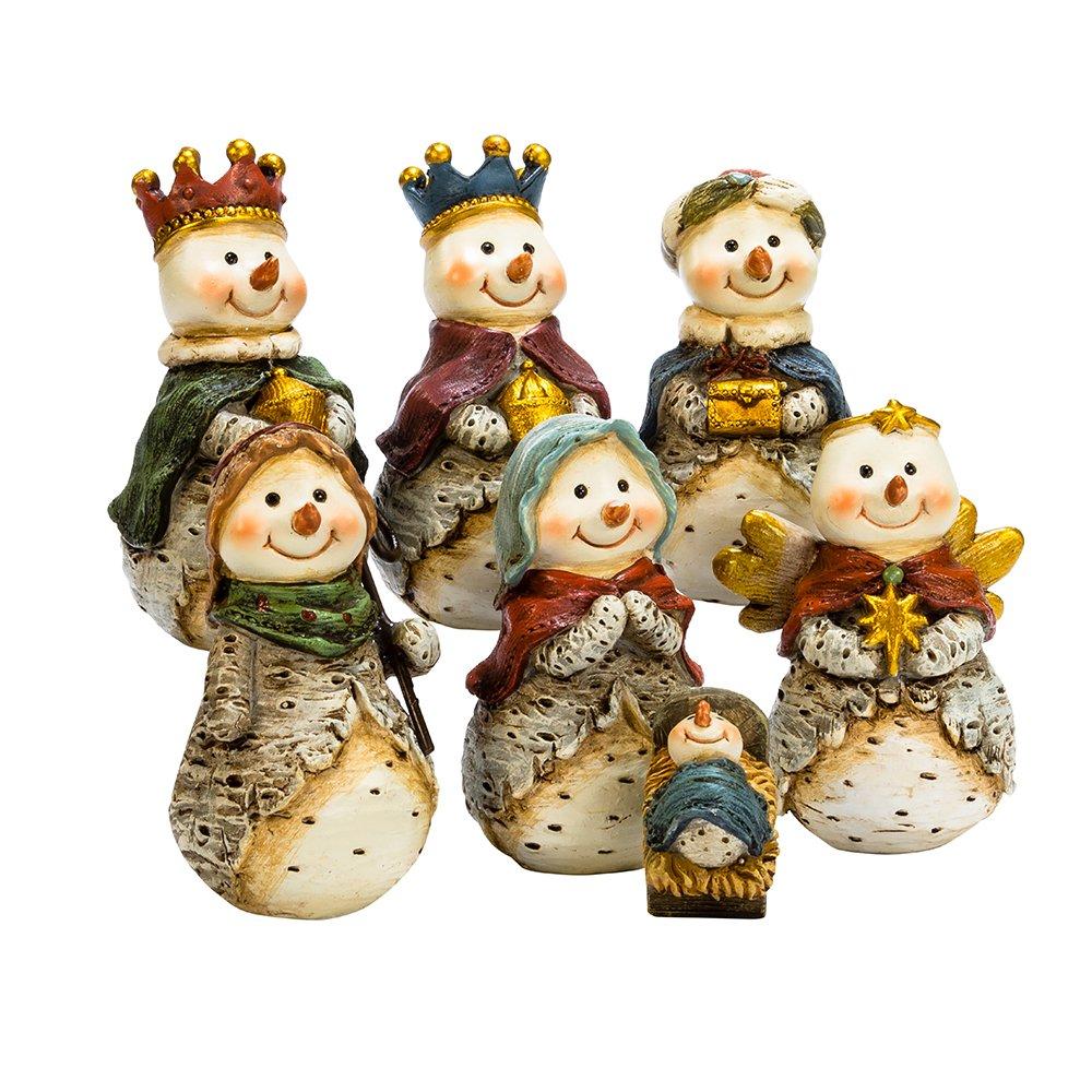 Kurt S. Adler J7344 7 Piece 6'' Resin Snowmen Nativity Scene Table Set, 7