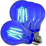 AmeriLuck Cobalt Blue Colored LED Filament A19 Light Bulbs, 40W Equivalent (4W), E26 Medium Base (Blue, 4 Pack)