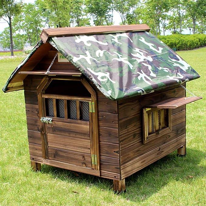 Perreras Caseta para Perros De Madera Maciza Casa De Mascotas Al Aire Libre Nido Impermeable para Mascotas con Protector Solar Adecuado para Perros De ...