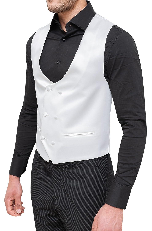 Evoga Gilet Panciotto Uomo Sartoriale Bianco Doppiopetto Raso Elegante