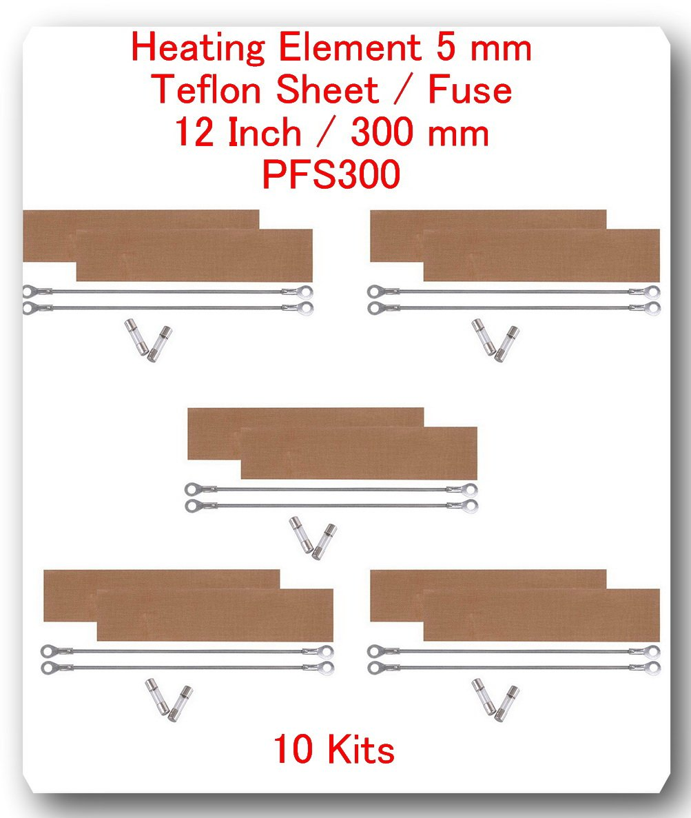 (10 Kits) Replacement Elements for Impulse Sealer PFS-300 12''(10 Heating Elements 5MM + 10 Teflon Sheets+ 10 Fuses) by SAP