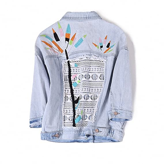 NEW Europe Brand Ladies Denim Coat Luxury Summer New Womens Fashion Personality Color Printing All-match Washed Jeans Jacket at Amazon Womens Coats Shop