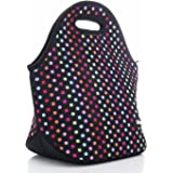 Wheebo Neoprene Lunch Bag Reusable Insulated Lunch Tote Box For Women Men Adults Kids,With Fashion Design(Colorful Dot)