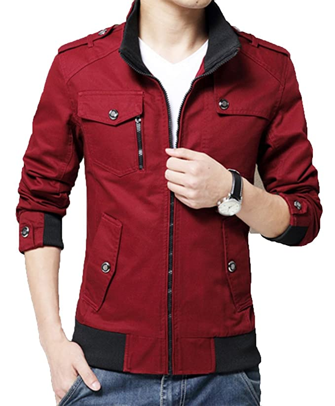 XueYin Mens Solid Cotton Casual Wear Stand Collar Jacket