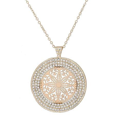 37078c400c Amazon.com: DAXI Disc Pendant Necklace Emblellished Rhinestone Long  Necklaces with Hollow Flower Pendant (Gold): Jewelry