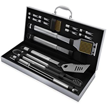 Review Home-Complete SYNCHKG054408 HC-1000 BBQ Grill Tool Stainless Steel Barbecue Gri, 16 Piece Set, Silver