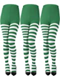 Sumind 3 Pairs Striped Tights Full Length Tights Thigh High Stocking for St Patricks Day Cat in The Hat Costume…