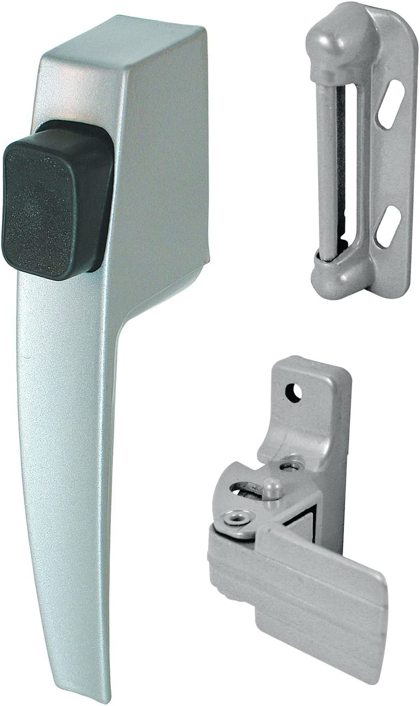 """Prime-Line K 5006 Screen and Storm Door Push Button Latch Set With Night Lock – Replace Old or Damaged Screen or Storm Door Handles Quickly and Easily – Aluminum Finish (Fits Doors 5/8"""" – 1-1/4"""" Thick)"""