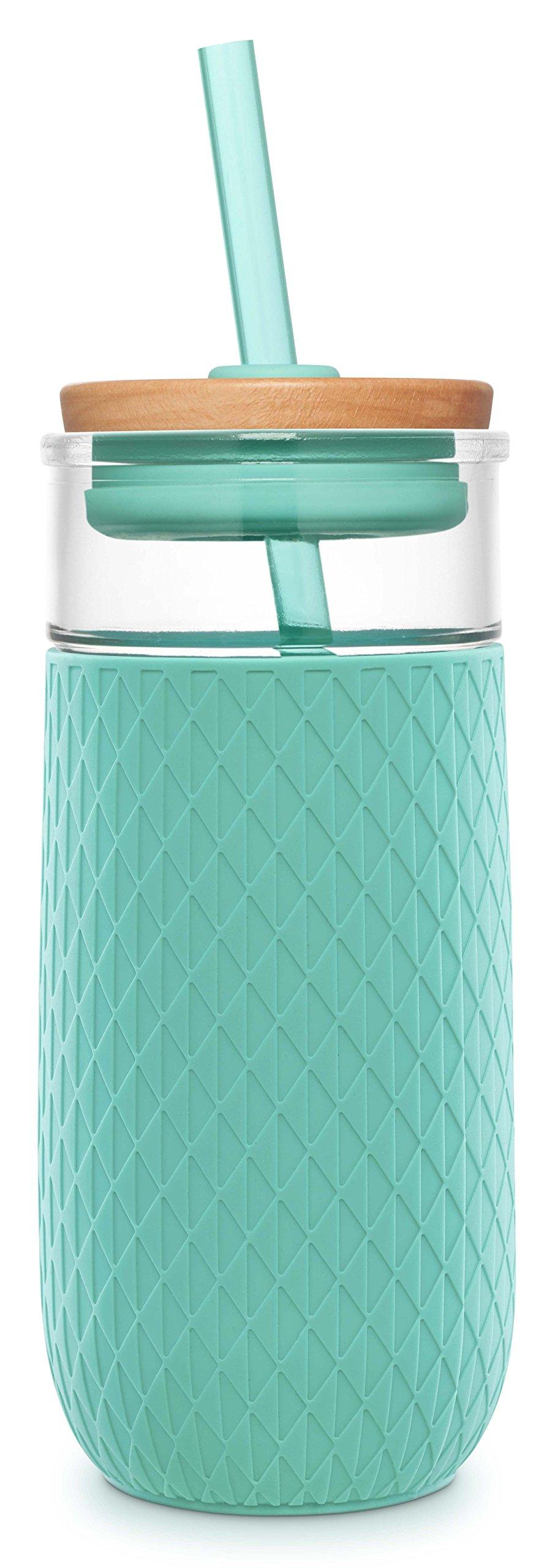 Ello Devon 20OZ Glass Tumbler Straw, Mint, 20 oz.