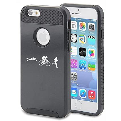 For Apple iPhone 6 Plus / 6s Plus Shockproof Impact Hard Case Cover Iron Athlete Swim Bike Run Triathlon (Black)