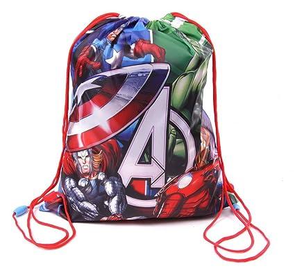 6ba15db897eb IMTD Boys CPT America Hulk Iron Man Marvel Comics Avengers Drawstring PE  School Holiday Swimming Bag Avengers  Amazon.co.uk  Clothing