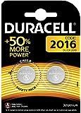 Pila especiales Duracell de botón de litio 2016 de 3V, paquete de 2 unidades (DL2016/CR2016) diseñada para uso en llaves con sensor magnético, básculas, elementos vestibles y dispositivos médicos