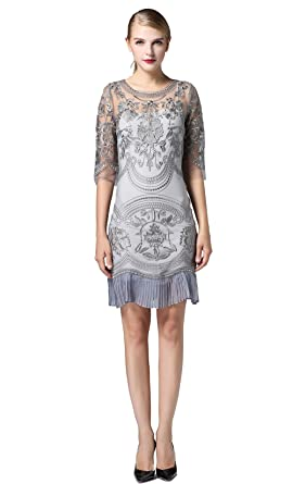 Tuliplazza Womens Floral Embroidery Tulle Lace Cocktail Prom Party Dress ,Grey,X-Small