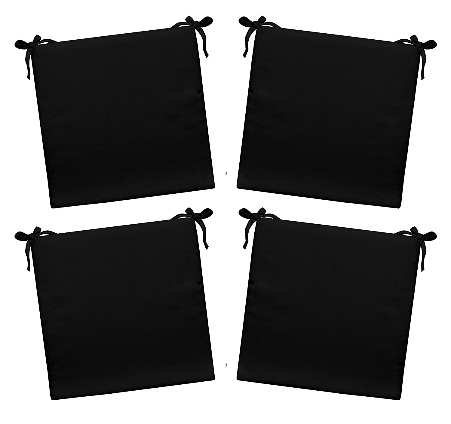 Resort Spa Home Decor Set of 4 – Indoor Outdoor Solid Black Square Universal 3 Thick Foam Seat Cushions with Ties for Dining Patio Chairs – Choose Size 17 x 17
