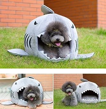 Perro cama, cunqi tiburón redondo casa cachorro mascota cama con de algodón suave cama Mat: Amazon.es: Productos para mascotas