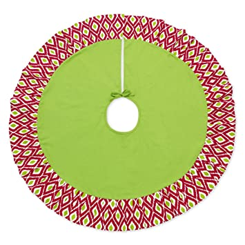 48 Inch Decorative Pattern Christmas Tree Skirt Ikat Red And Green