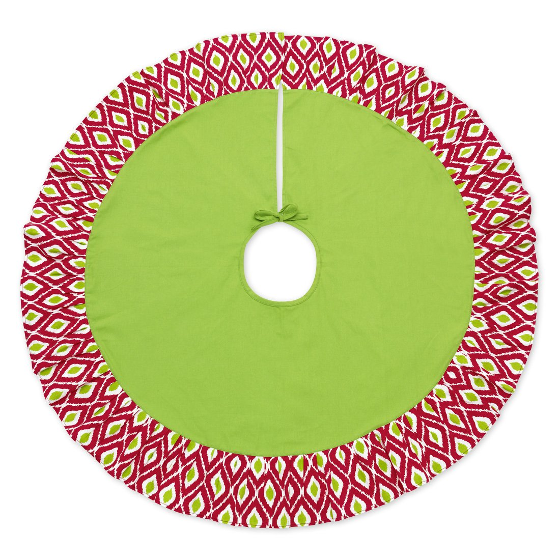 48 Inch Decorative Pattern Christmas Tree Skirt (Ikat Red and Green)