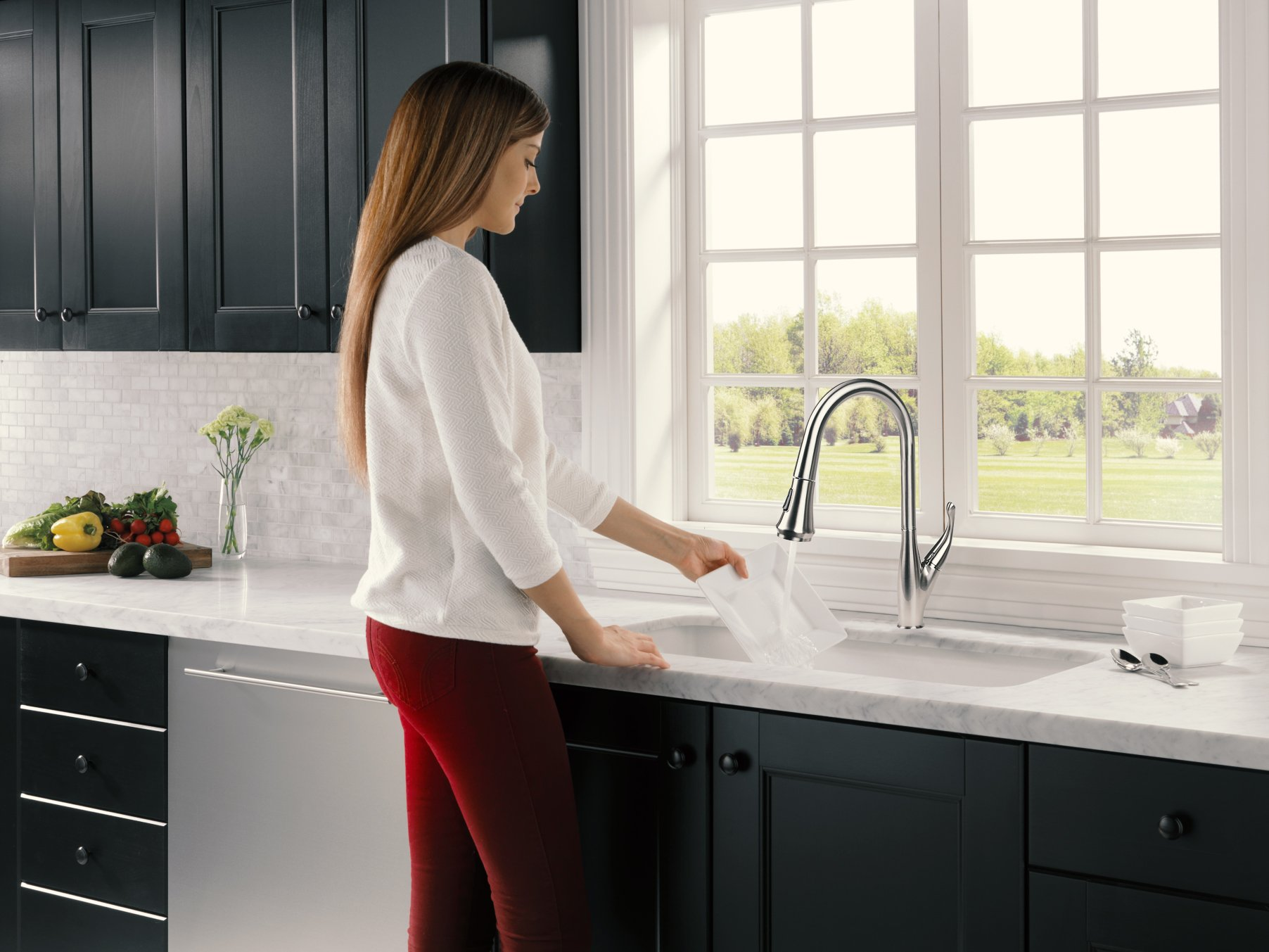 Cosmo COS-KF548SS Modern Luxury High Arc Pull-Down Tap Mixer Kitchen Faucet, Brushed Nickel by Cosmo (Image #7)