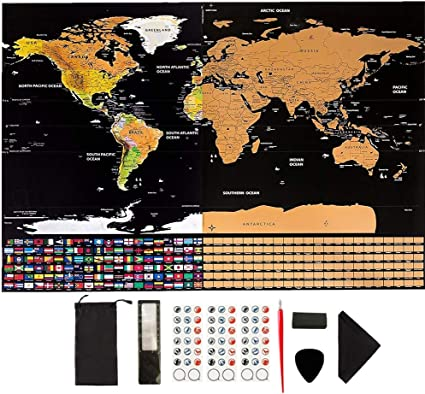 GUIFIER Mapa Mundi Rascar con Banderas,Mapa del Mundo para Rascar ...