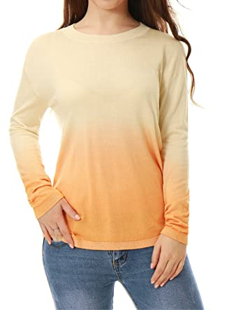 299fa3f3fc9788 Cashmerelina Women Crew Neck Silk Cashmere Jumper Dip Dye Pullover Sweater  at Amazon Women's Clothing store: