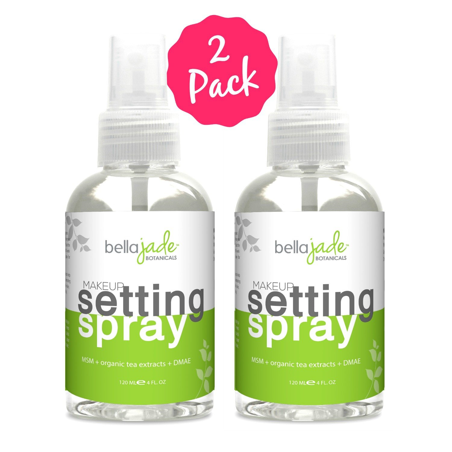 Makeup Setting Spray with Organic Green Tea, MSM and DMAE - A Must for Your Natural Anti Aging Skincare Routine - large 4 ounce bottle (2-Pack)