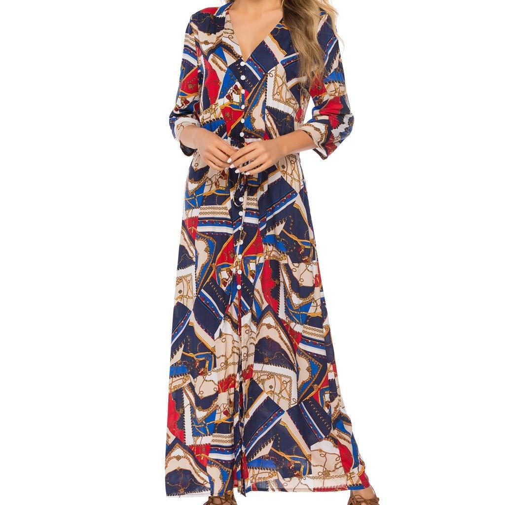 Pervobs Women Floral Print Button Up Split Flowy Party Maxi Dress Vestido(US:6, Dark Blue C)