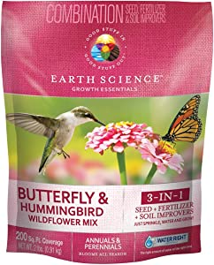 Wildflower Butterfly & Hummingbird Mix from Earth Science (2 lb), 3-In-One Mix with Premium Wildflower Seed, Plant Food and Soil Conditioners, Non-GMO, for Bees, Hummingbirds, Butterflies, Pollinators