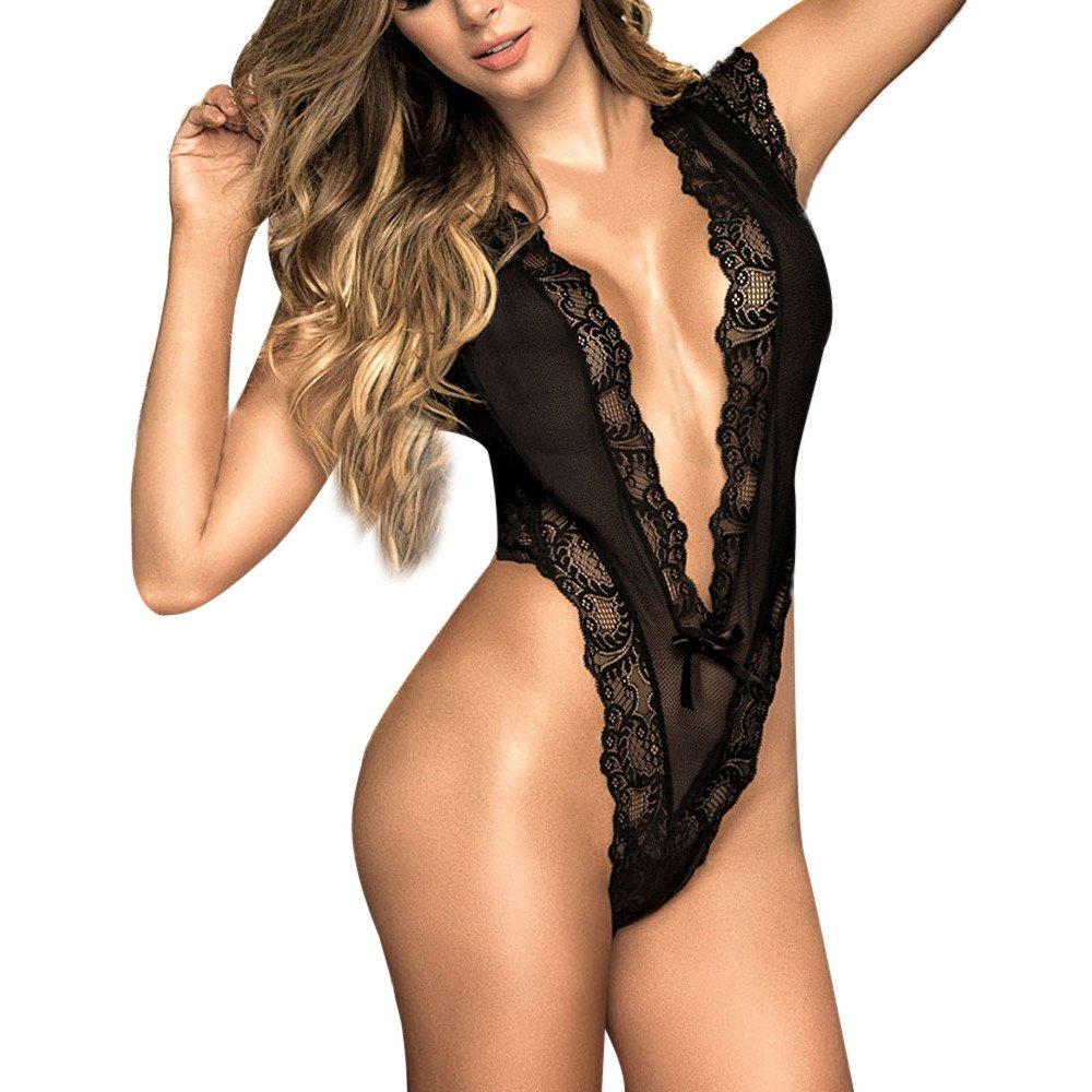 Women Sexy Lingerie Fashion Lace Deep V-neck Temptation Black Perspective Sleepwear(L,Black)