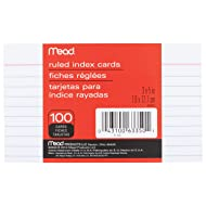 """Mead Lined Index Cards, Note Cards, Ruled, 100 Count,  3"""" x 5"""", White (63350)"""