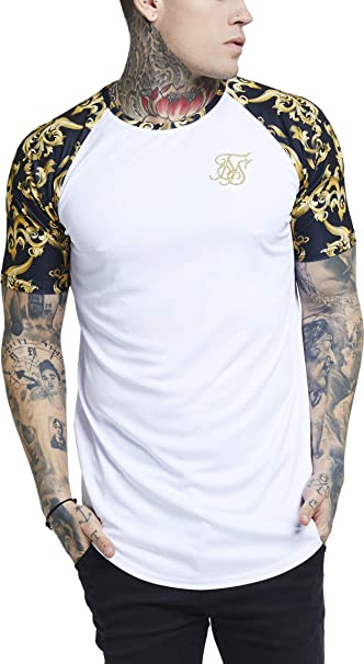 Camiseta Siksilk – Raglan Curved Hem Blanco/Negro/Dorado Talla: L (Large