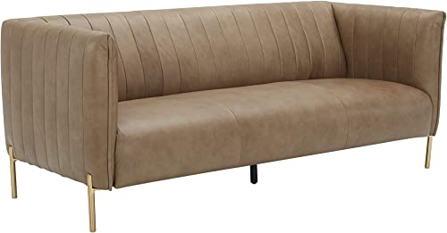 Amazon Brand Rivet Frederick Mid-Century Modern Tufted Leather Sofa Couch, 77.5 W, Taupe
