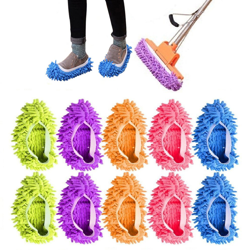 Washable Dust Mop Slippers Lazy House Floor Shoe Cover for Home Cleaning Tools Reusable Microfiber Floor Cleaning Sweeping Slippers (5 pairs 5 colors)