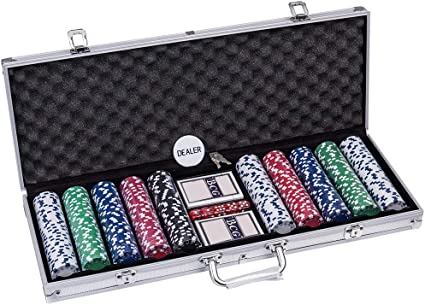 Casino Texas Clay Poker Chip Set Blackjack Table Cloth Cards Dealer chips
