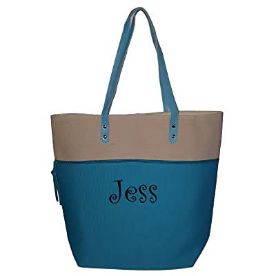 2 Tone Color Block Fashion Tote Bag - Available Personalized or Blank
