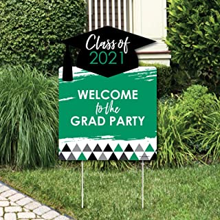 product image for Big Dot of Happiness Green Grad - Best is Yet to Come - Party Decorations - Green 2021 Graduation Party Welcome Yard Sign