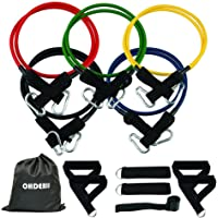 ohderii Resistance Band Set, with Door Anchor, 4 Foam Handles, Ankle Straps - Stackable Up to 100lbs - for Resistance Training, Physical Therapy, Home Gyms Workouts Fitness Yoga
