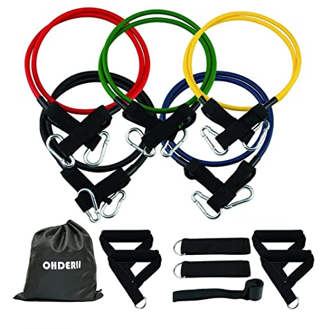 697669838be1 ohderii Resistance Bands Set, Workout Bands Exercise Bands with Door  Anchor, 4 Foam Handles, Ankle Straps - Stackable Up to 100lbs - for  Resistance ...