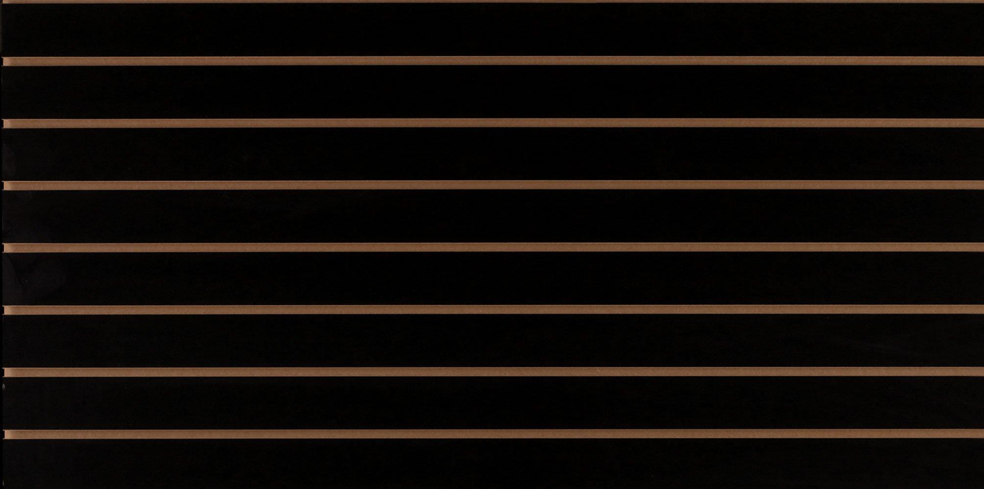 4 x 2 Foot Horizontal Black Slatwall Easy Panels - Pack of 2