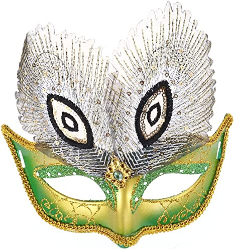 Women LED lightening Feather Costume Party Fancy Dance Ball Eye Face Mask prop
